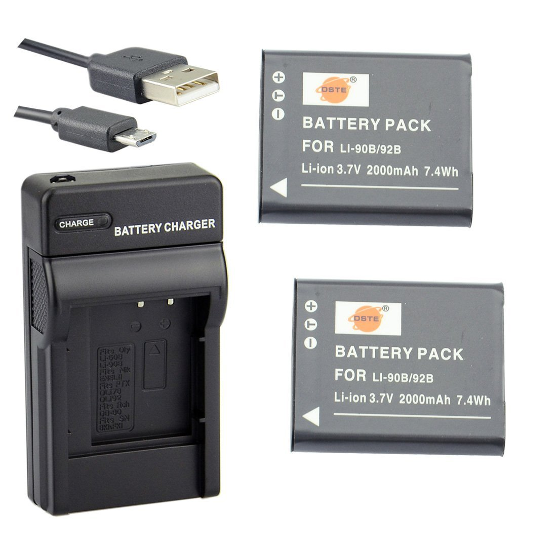 DSTE Li-90B Li-ion Battery (2-Pack) and Micro USB Charger Suit for Olympus Tough TG-1 TG-2 TG-3 SH-1 SH-50 SH-60 SP-100 XZ-2 iHS