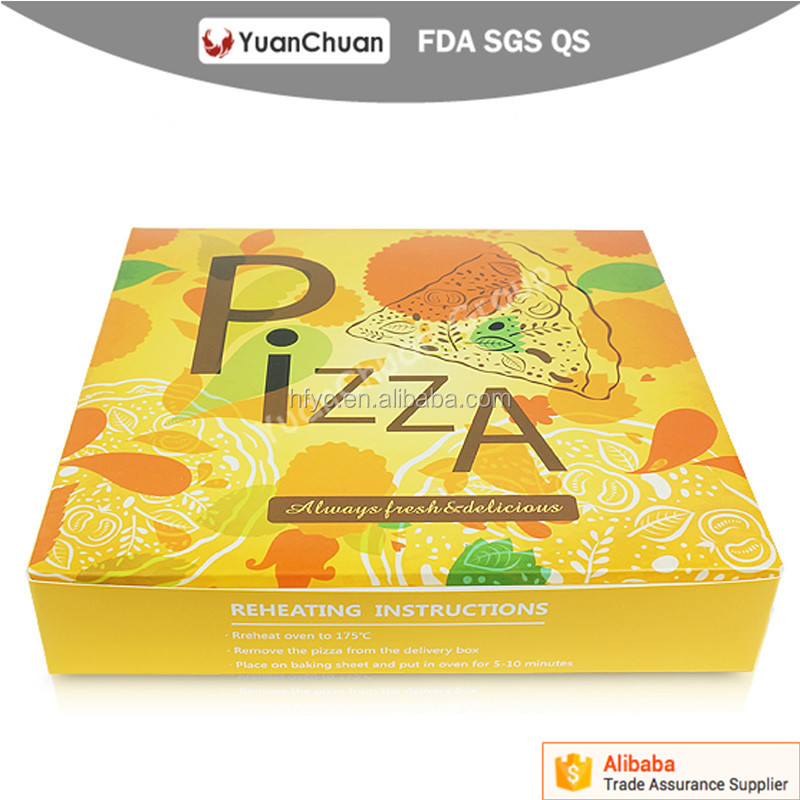 China supplier disposable pizza foldable box with custom logo printing for tacking away