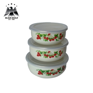 Fully wrapped decal 3pcs enamel storage bowl set
