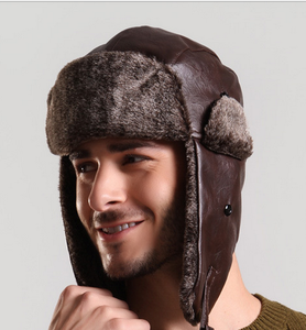 099d4eab923 Unisex Nylon Russian Style warm thicker faux fleeced pu Winter Ear Flap Hat