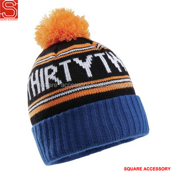 e2cefa3c44e8a Custom Pom Embroidery Knitted Winter Hat With Braid