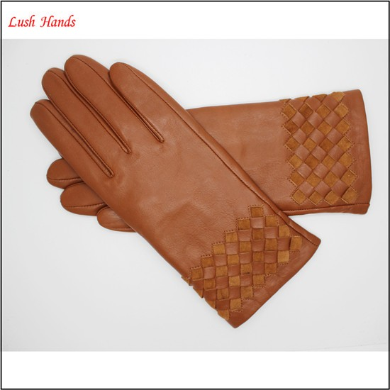 2017 high quality girls fashion new style genuine sheepskin and pigsuede weaving gloves