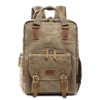 7a722ea0776a Casual waxed waterproof canvas backpack for professional photographer  camera bag