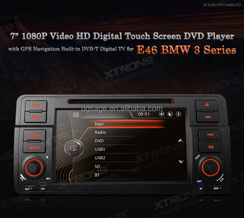"Xtrons PF7146BGTD- 7""1080P Video HD Digital Touch Screen DVD Player Bulit-in MPEG-4 TV with GPS Navigation Canbus For E46 BMW 3"