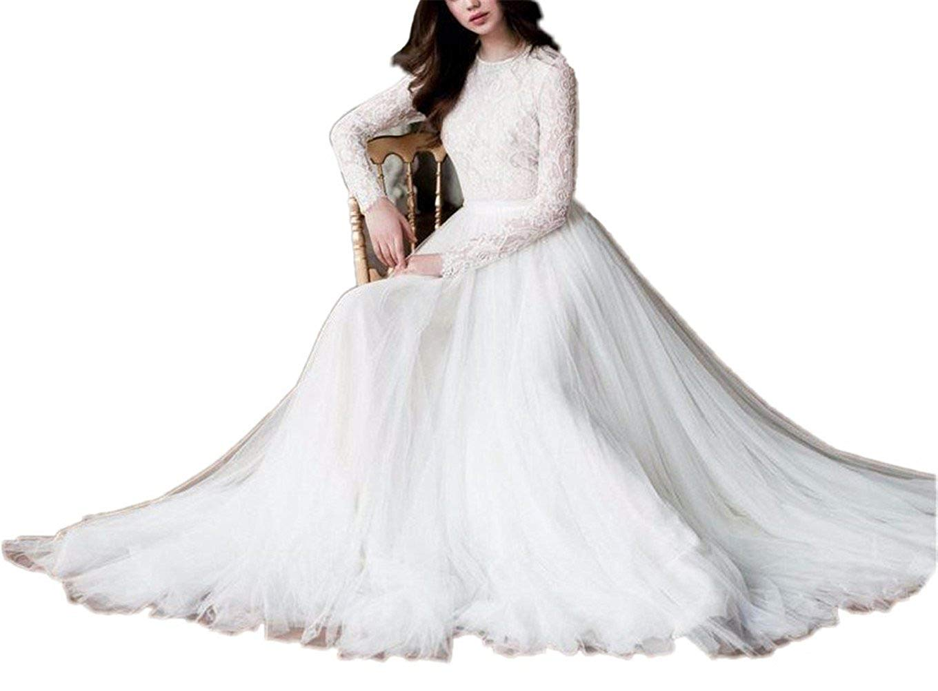 Get Quotations · Tsbridal Beach Wedding Dress Long Sleeves Round Neck Lace  Wedding Gowns 226785b90