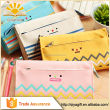 wenzhou 2-layer canvas cute large pencil case with zipper for school