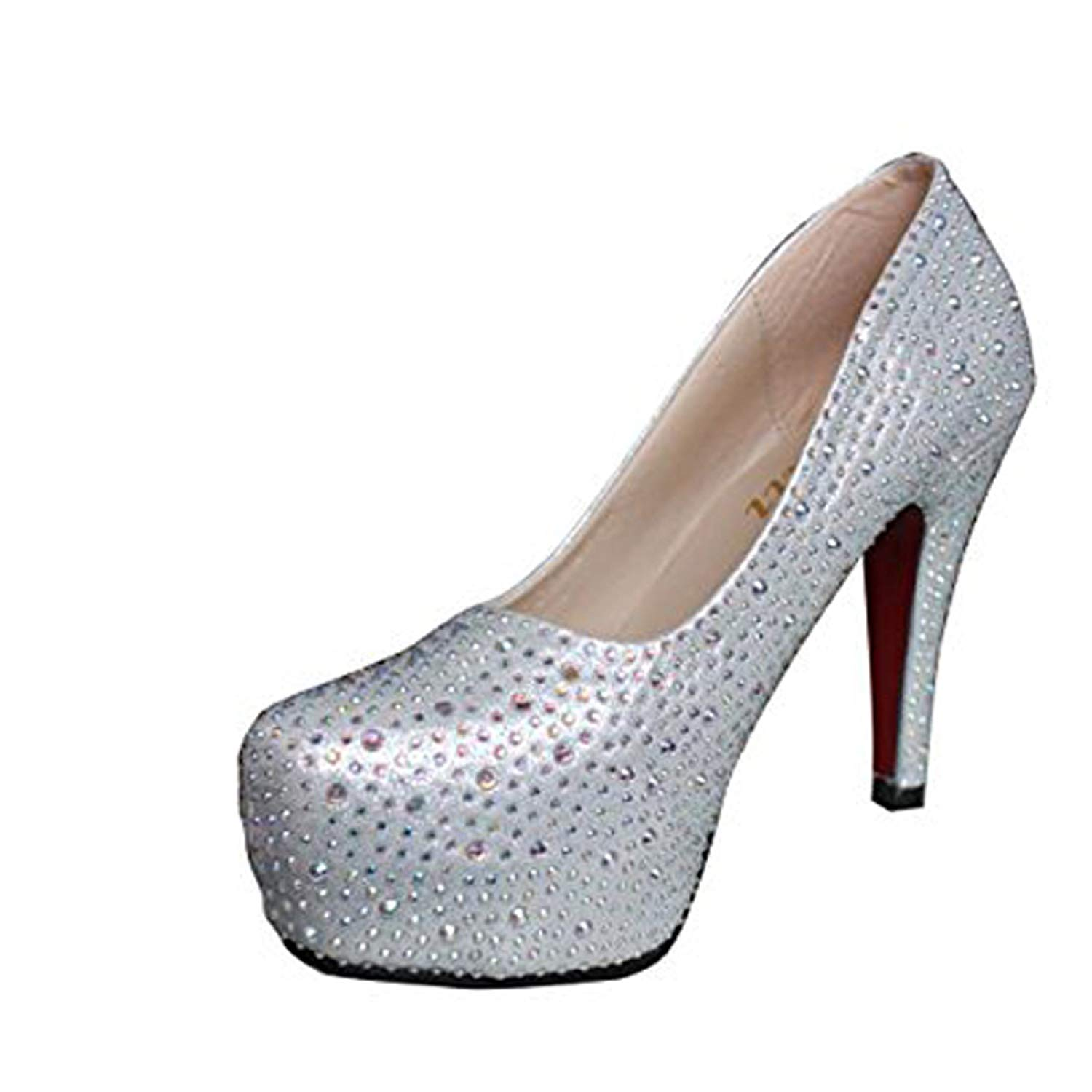 Gaorui Women Glitter Rhinestones Studded Pumps Platform Wedge high heel Shoes Silver Red