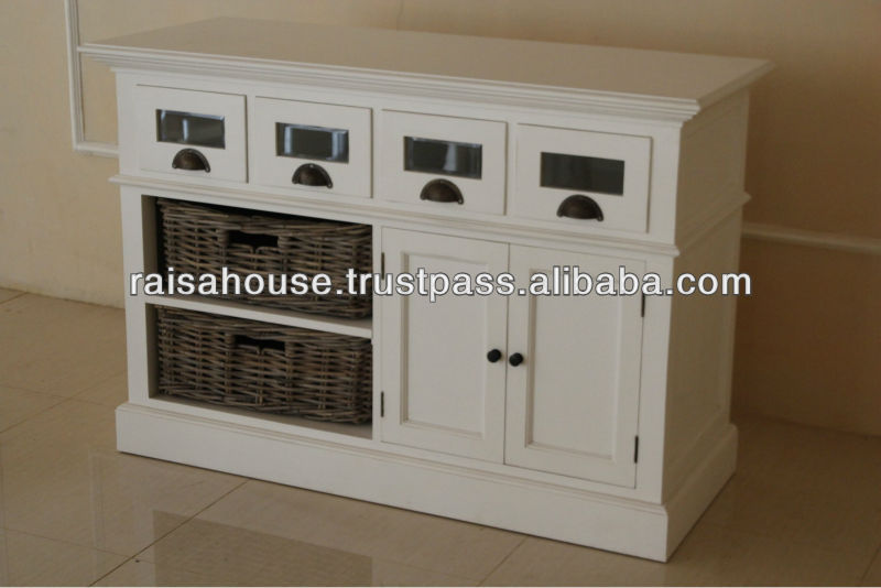 Indonesia Furniture - Buffet With 2 Rattan Baskets
