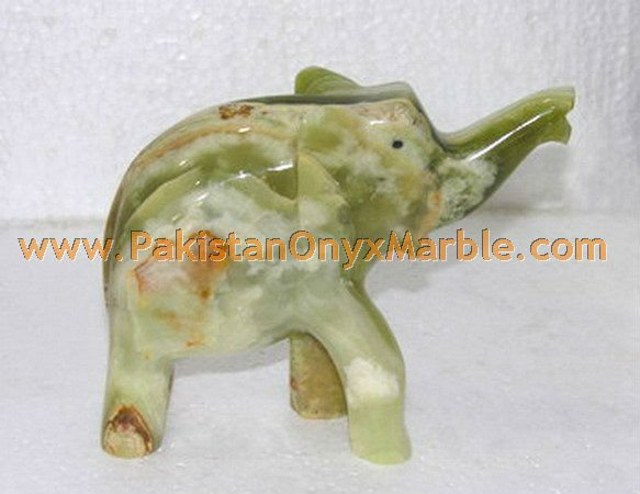 MULTI GREEN ONYX HAND CARVED ELEPHANTS