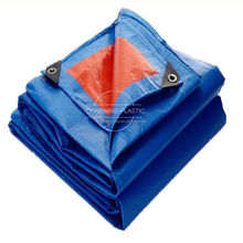 hot selling reinforced plastic tarpaulin with eyelets blue orange pe tarpaulin canvas sheet