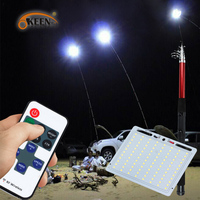 KEEN High Power 48W 12V 4.5M Telescopic Rod led outdoor Lantern camping light for Road Trip Night Fishing with remote controller