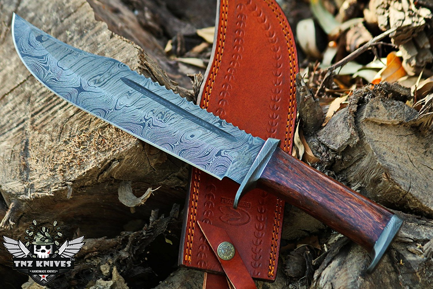 TNZ-1179-W Damascus Knife 14″ Long 9″Blade 15oz Hunting Bowie Camping Damascus knife Bowie Outdoor Knife With Leather Cover TNZ Hand Made Damascus knives