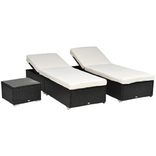 3 pezzo rattan di vimini chaise lounge chair set monoposto banco w/Side