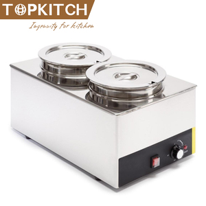 Stainless Steel Bain Marie Electric Food Warmer and Buffet Server Steam Table, Double Section with 2 Round Wells, Pots, Pans for
