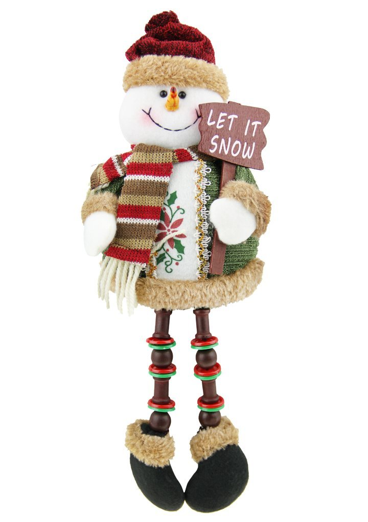 christmas snowman plush stuffed toy standing collectible figurines stacking figure toy xmas home indoor table display