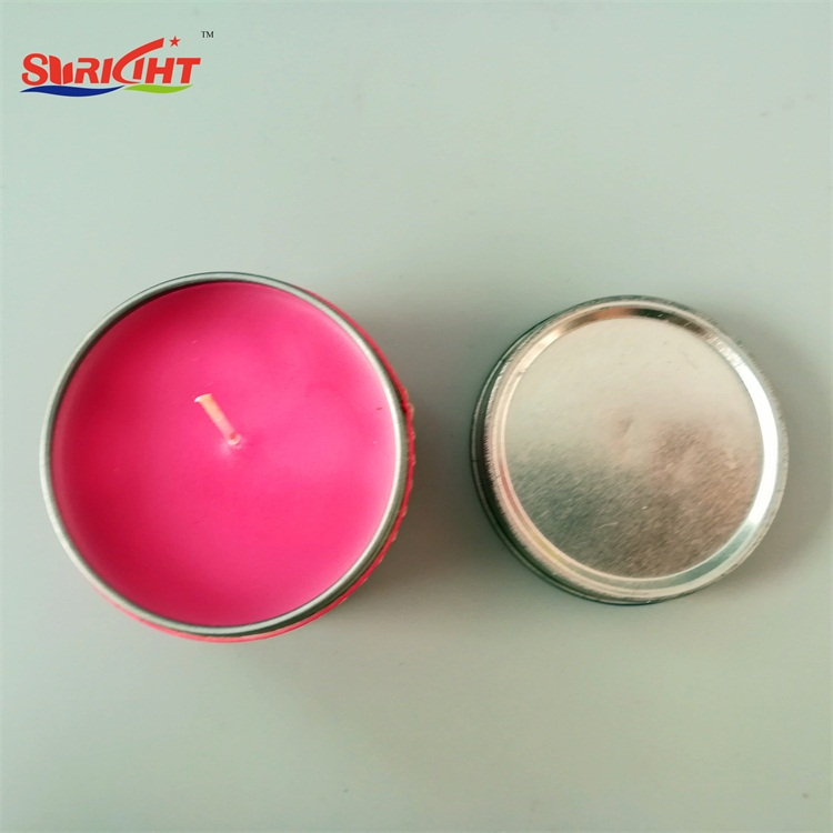 Promotional Pink Scented Luxury Tin Containers Candle with Decoration