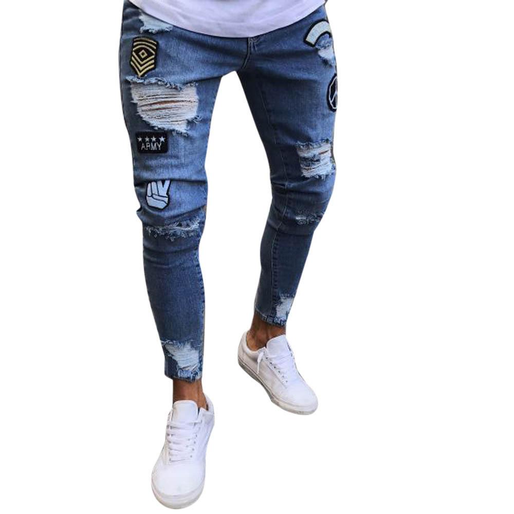Déchiré Sport 30 Pantalon Leggings Zipper Effiloché Jeans Hommes Pantalons Denim Slim À Biker De Course Pied Yoga PXkZOuiT
