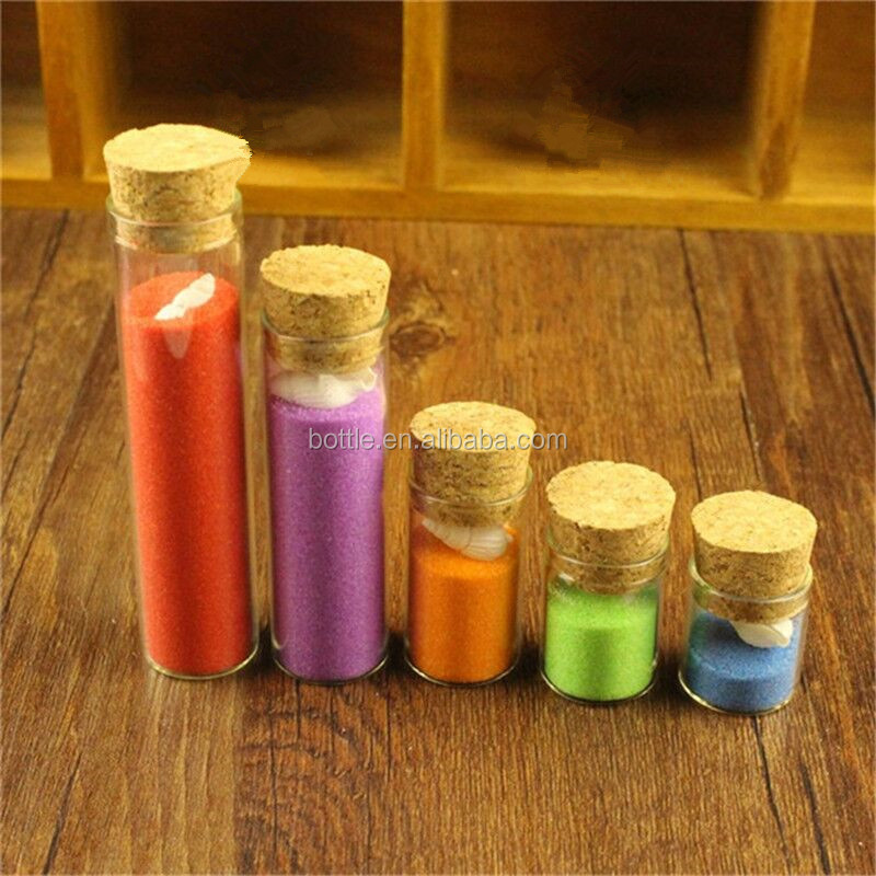 Wholesale Customized Made Mini Message Bottles Spice Storage Glass Vials Wooden Cork Top