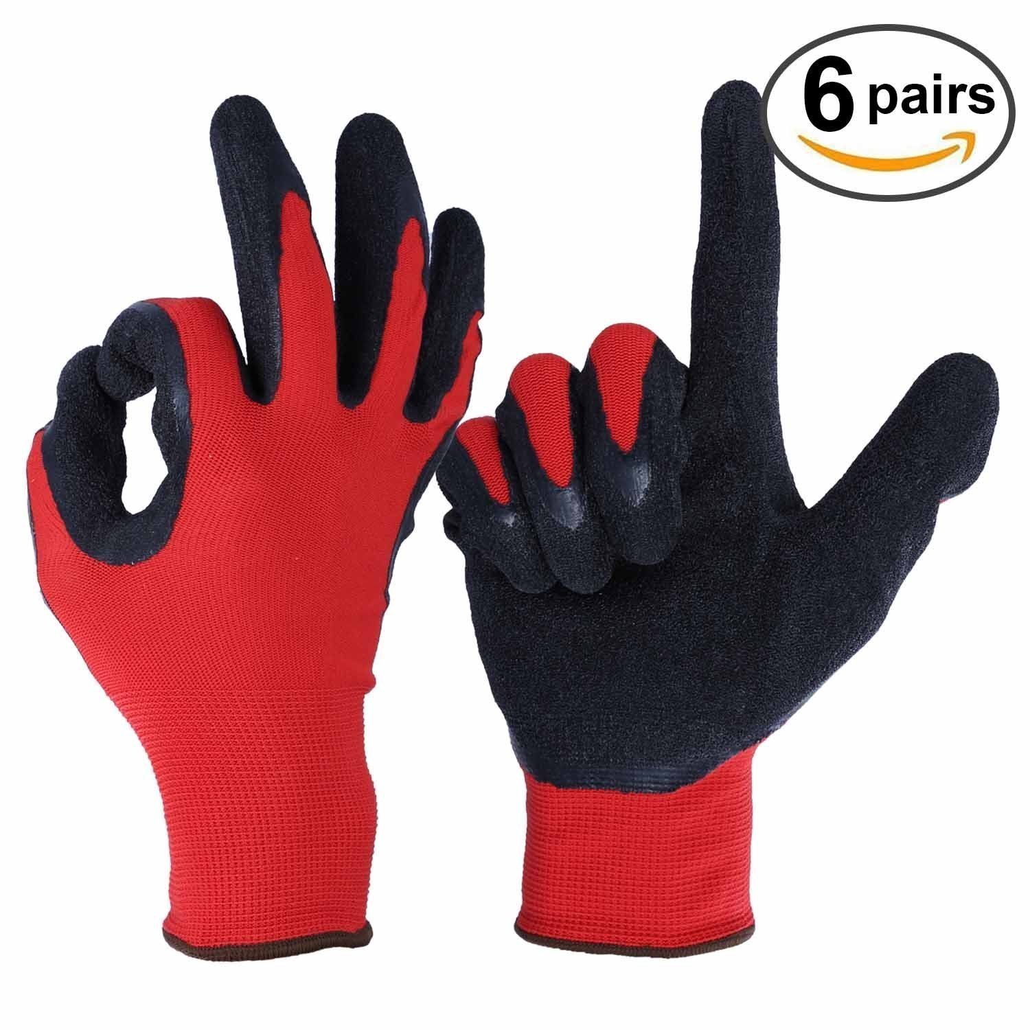 Nitrile Work Glove with Nylon Shell for Farming, Warehouse, Repairment - Snug Fit - Ultimate Grip and Light Weight for Men and Women - 6 Pairs Pack Garden Gloves (Large)