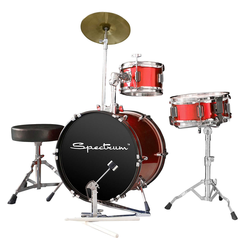 Spectrum AIL 661R 3-Piece Junior Drum Set with 10-Inch Crash Cymbal and Drum Throne, Rockstar Red