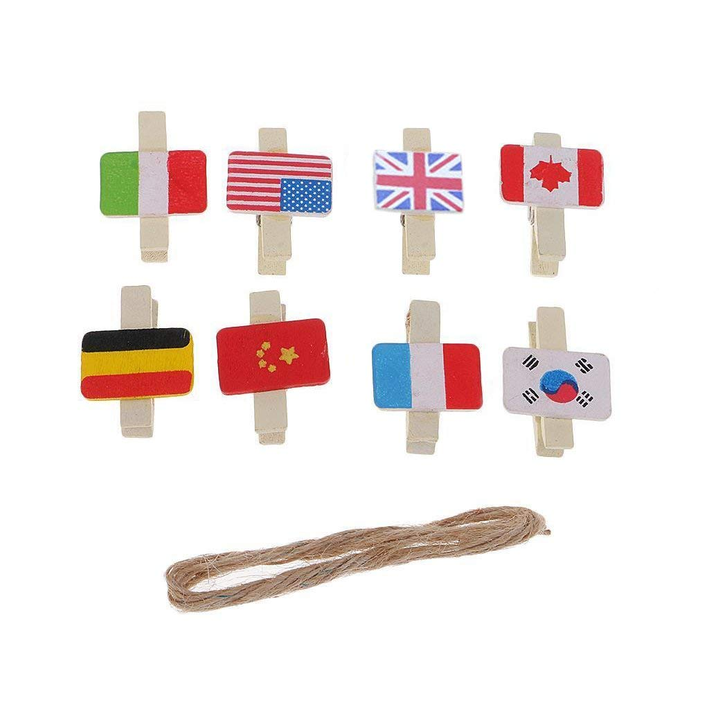Vpang 40 Pcs Mini Natural Wooden National Flag Design Clothespins Photo Paper Card Peg Pin Craft Clips with Jute Twine