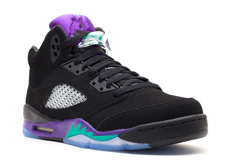 competitive price 0a33a 65ac0 Get Quotations · stevenok Leather Basketball Shoes Air Jordan 5 Retro gs  Black grape Black new emerald grape ice