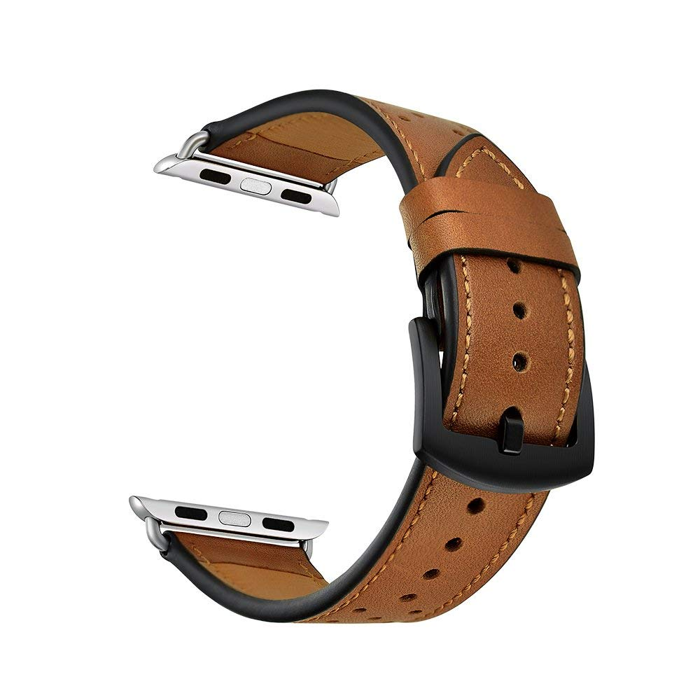 Genuine leather watch replacement band with polka dot for Apple watch, 38mm (Brown with black polka dot)