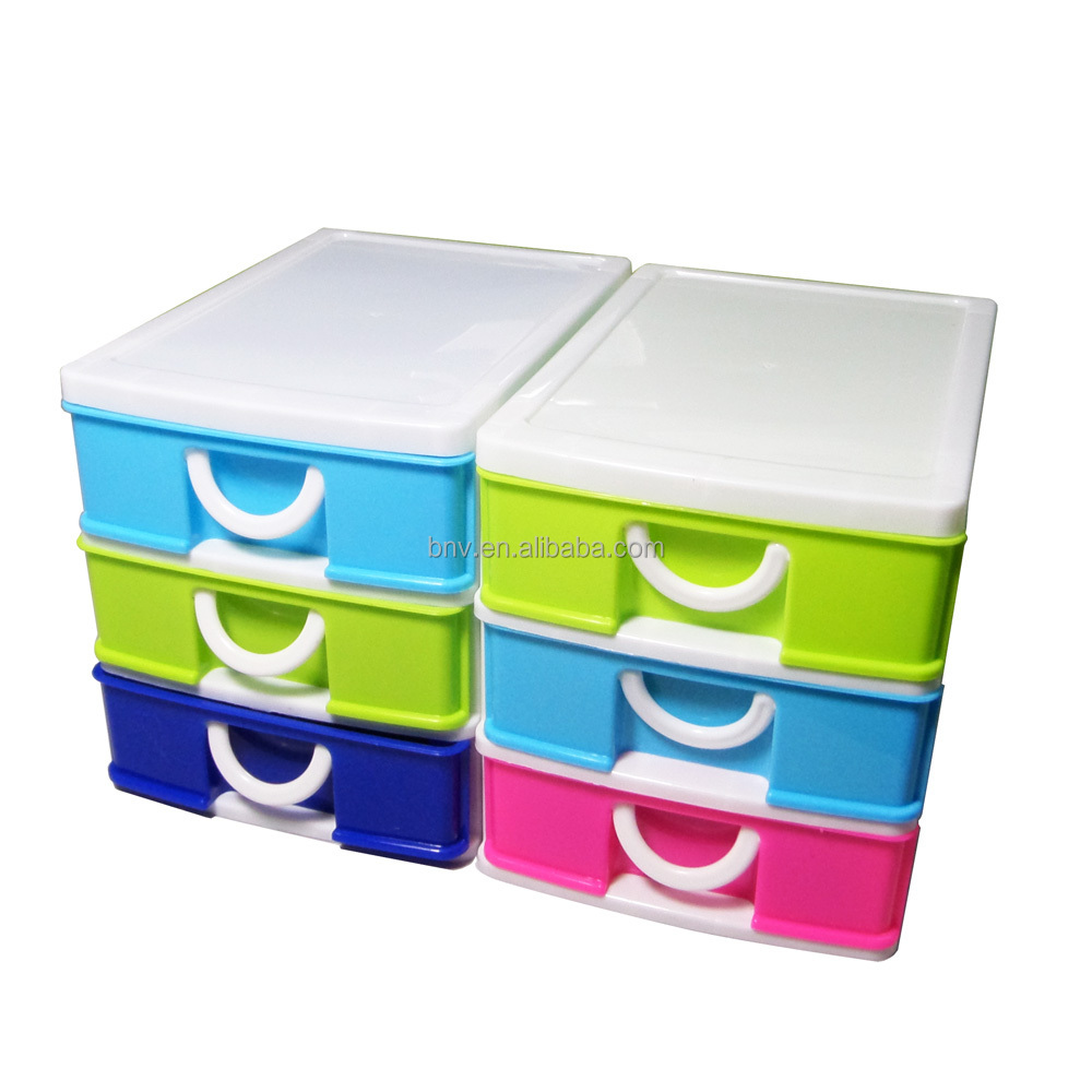 Eco Friendly 3 Tier Desktop Mini Stackable Storage Plastic