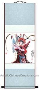 Chinese Art / Chinese Brush Paintings / Traditional Chinese Paintings - Chinese Painting Scroll - Chinese Opera / Mu Gui Ying