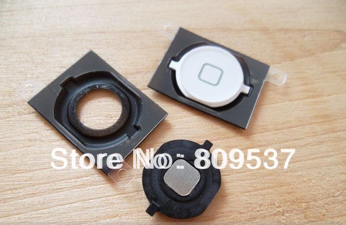 Главная кнопка ключевые с резиновый распорный для Apple , Iphone 4S 4GS белый черный 10 шт./лот