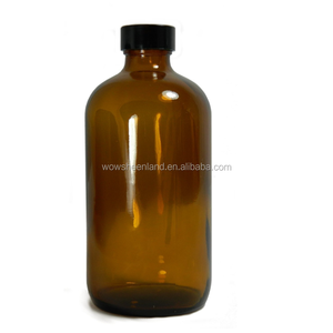 16oz Amber Glass Boston Round Soda Syrup Bottle with 28-400 Black Phenolic Pulp/Vinyl Lined Cap