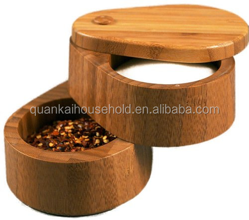 Bamboo Salt Keeper Duet Double Salt Box