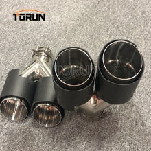 Hot sale high quality performance #304 Stainless steel 2 pcs Universal carbon fiber car dual  Carbon fiber exhaust system