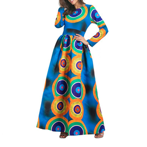 Good Quality Women Clothing African Kitenge Dress Designs Long Sleeve Maxi Dresses Long Boubou Dress Printed Ladies