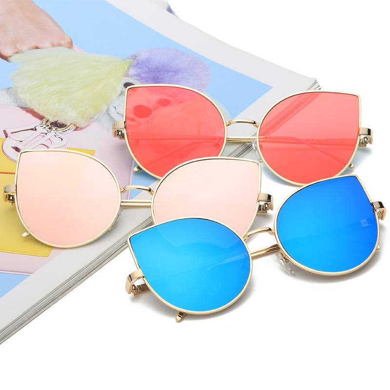 3ddb11fef الأزياء القط العين خمر الوردي مرآة المرأة نظارات الشمس المعدنية شقة عدسة  النظارات الشمسية متعددة الألوان