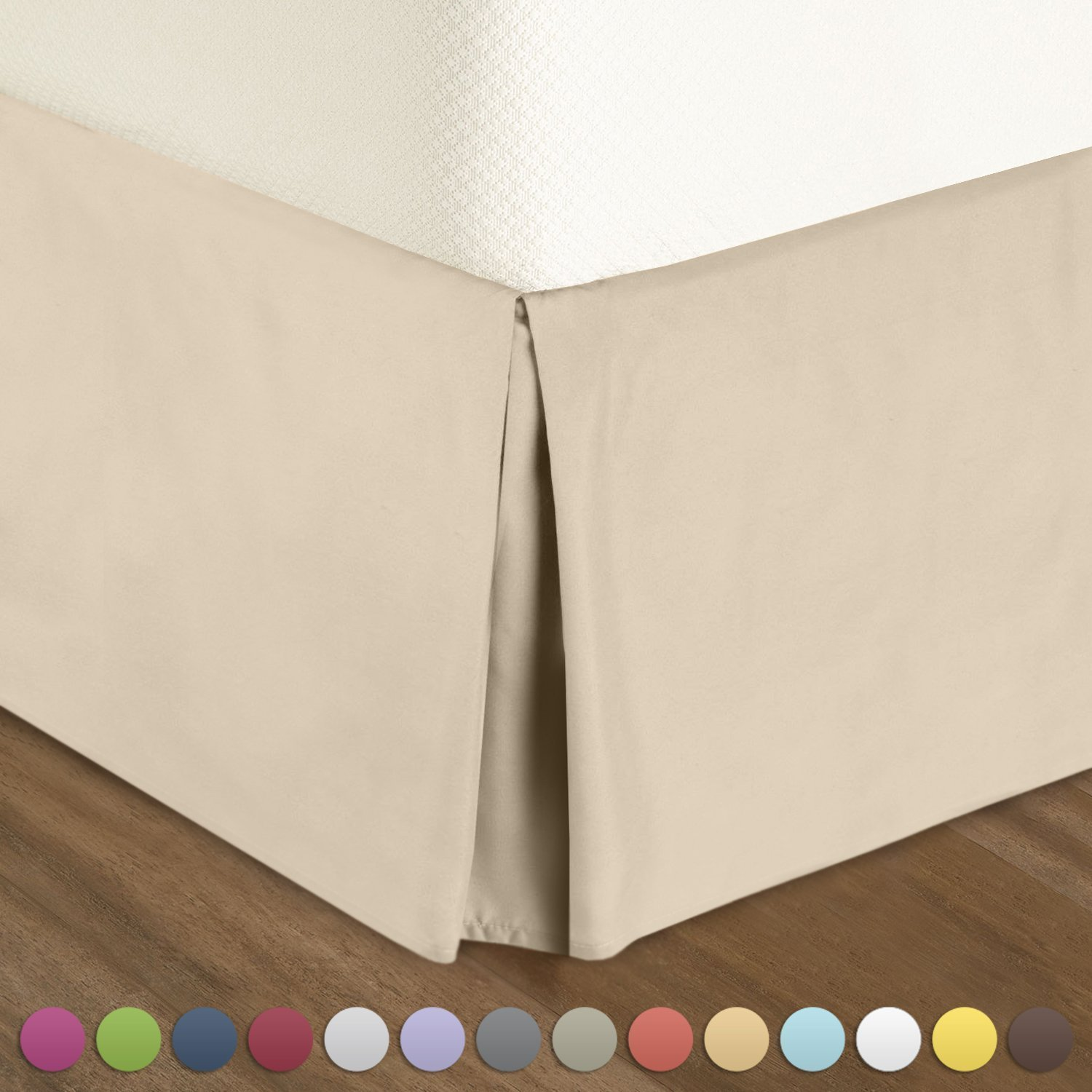 Get Quotations Pleated Bed Skirt California King Size Cream Luxury Double Brushed 100 Microfiber Dust