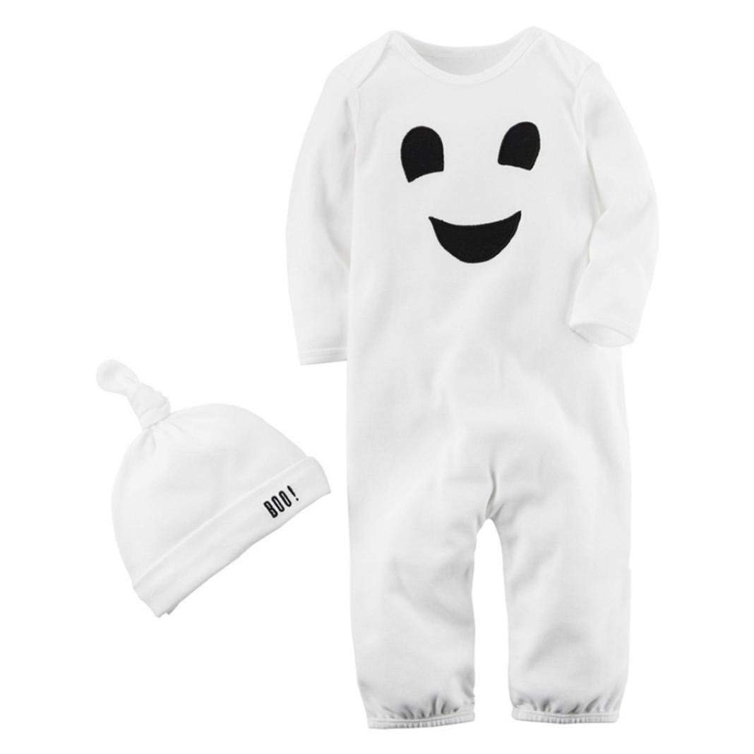 Baby Boy Halloween Sets,Jchen(TM) Clearance! 2PCS Halloween Baby Boys Girls Cartoon Print Romper Jumpsuit+Hat Outfits for 0-24 Months (Age: 0-6 Months)