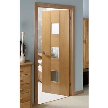 Flush Door Design With Glass Interior Wood Door With Door Frame