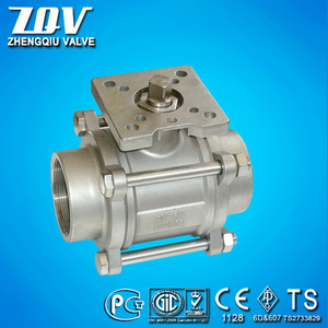 3pc socket weld stainless steel ISO 5211 pad Ball Valve 1000wog