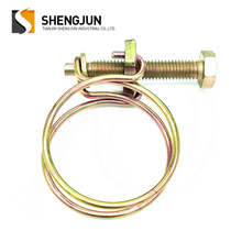 Galvanized Steel Double Wire Hose Clamp Clip Adjustable Double Wire Pipe Hose Clamps
