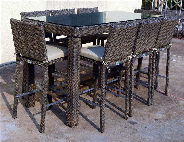 2014 nouveau produit myx 15066 kd 9 pcs rotin wicker bar for Table bar et chaise haute