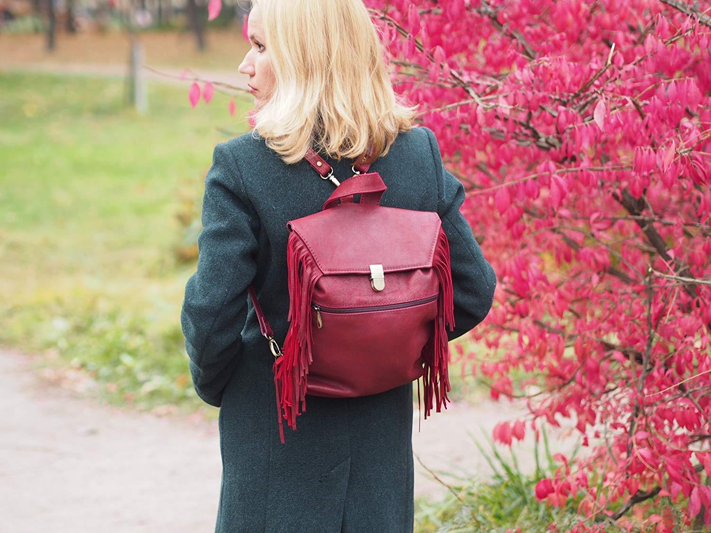 leather boho bag, Burgundy Fringe Leather backpack / boho Leather backpack / Woman Leather backpack /leather vinous bag, Hipster Backpack