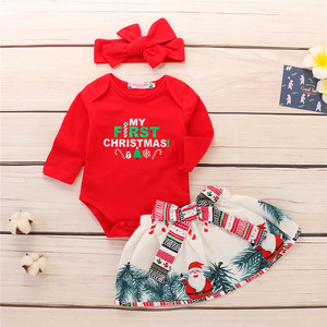 Newest desig romper +dress + hair band 3pcs christmas children clothes cute girls clothing set import newborn baby clothes