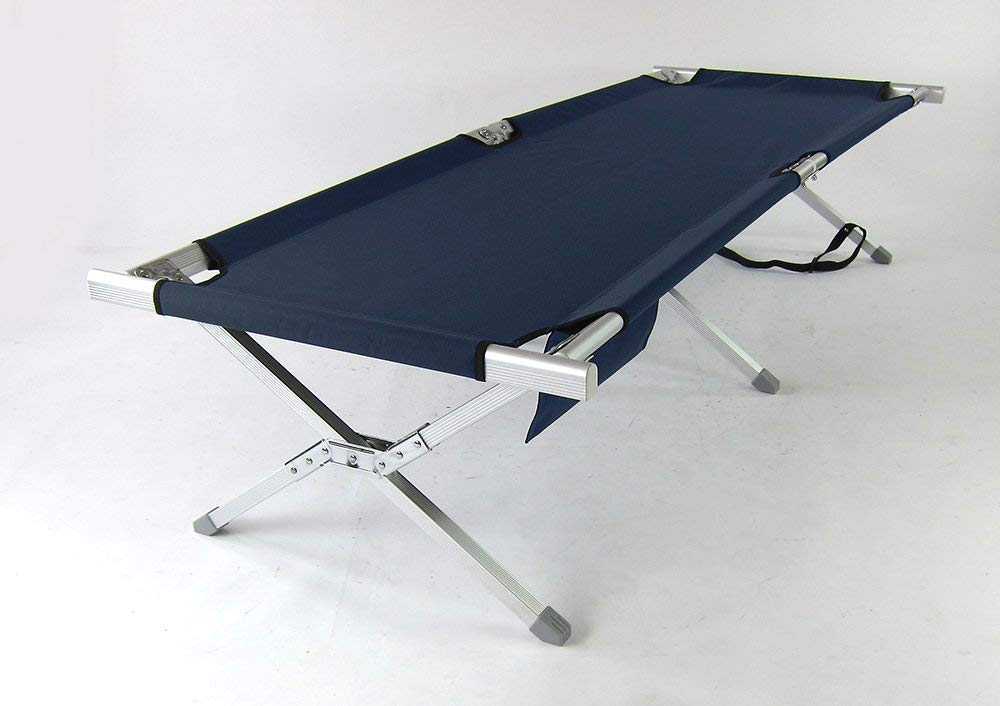 Onway Outdoor Furniture Aluminum Portable Folding Military Cot (Blue) - GI Bed | Military bed | Foldable cot | Camping Cot | Camping bed | outdoor sleeping | tent sleeping | napping | rest outdoor