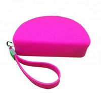 Hot Selling Unique School Zipper bag with Handle Soft Silicone Zipper Pencil Case