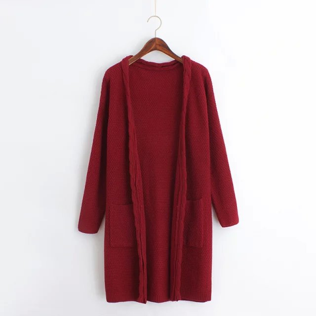f2734ae91c Get Quotations · 2015 Autumn New Korean Version Long Knit Cardigan Solid  Color Open Stitch Cardigan Women Loose Knitted