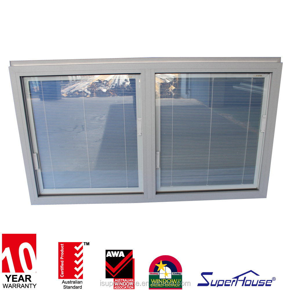 Top quality AS2047 aluminum Euro type fixed window in Superhouse with internal blinds