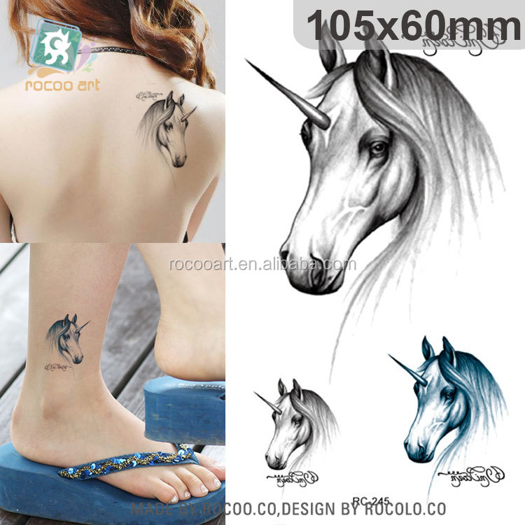 RC245/Hot Selling Temporary Feature and Tattoo Sticker Type Female King Horse Temporary Tattoo Body tatoo
