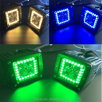 3x3u0026quot; Dually Pod Cube LED Light Color Change RGB Halo Rings With Pods  ...