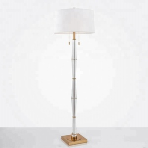 Modern simple Nordic creative crystal chandelier hotel floor lamp with fabric shade